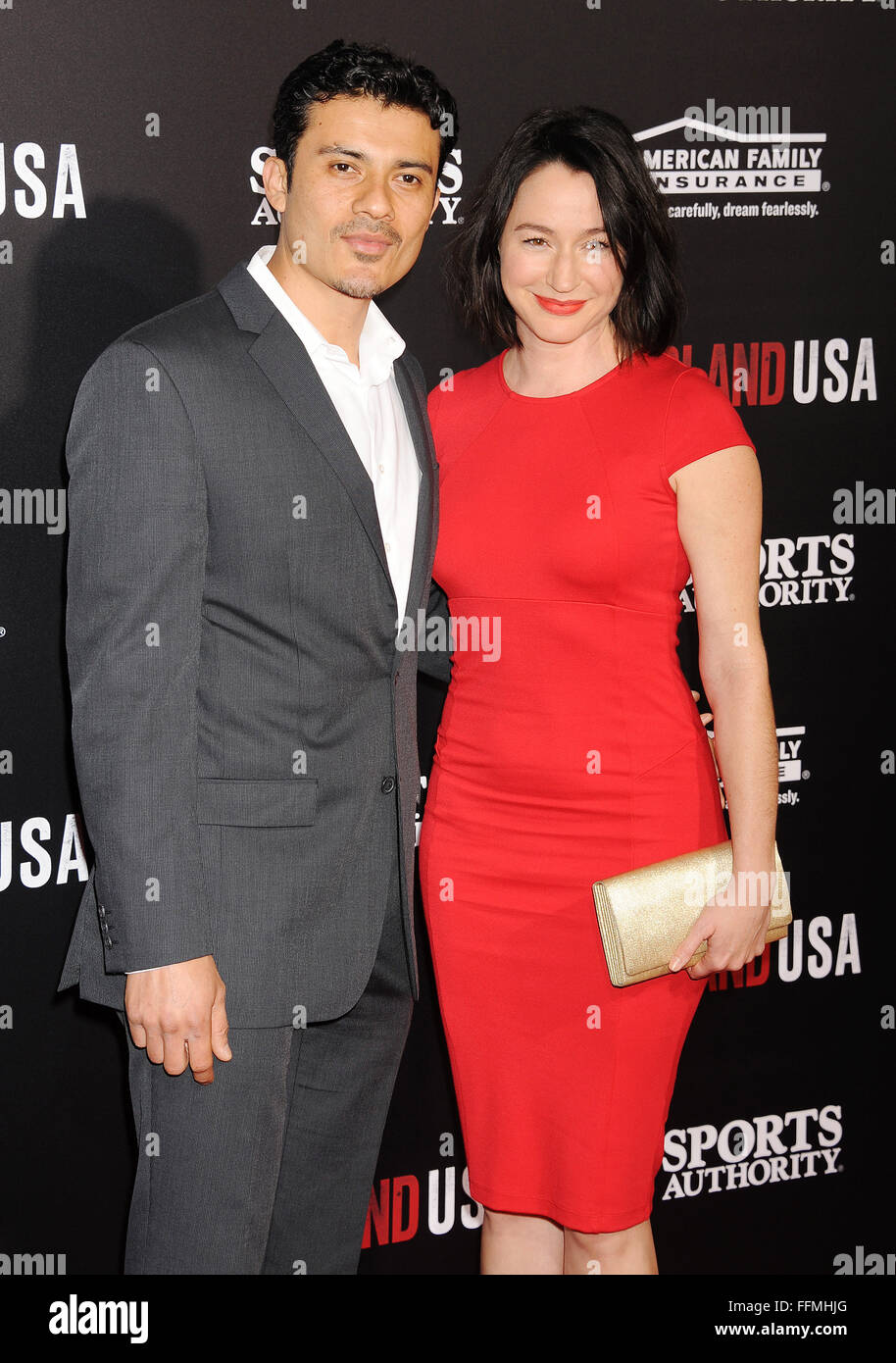 Actor Rigo Sanchez (L) and guest arrive at the World Premiere of Disney's 'McFarland, USA' at the El - Stock Image