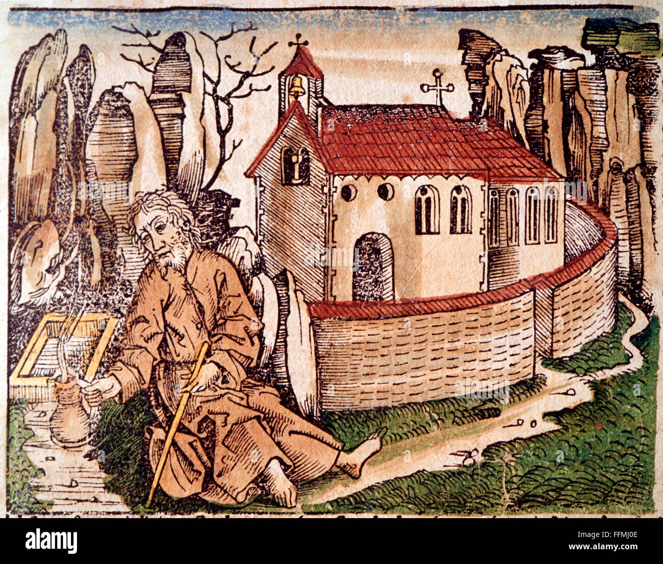 Nicholas of Flue, 1417 - 21.3.1487, Swiss hermit, ascetic, mystic, Saint, sitting in front of chapel, colored woodcut - Stock Image
