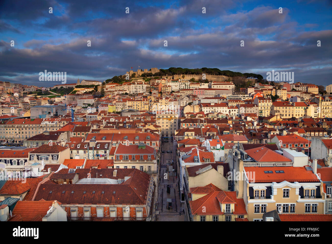 Lisbon. Image of Lisbon, Portugal during golden hour. Stock Photo