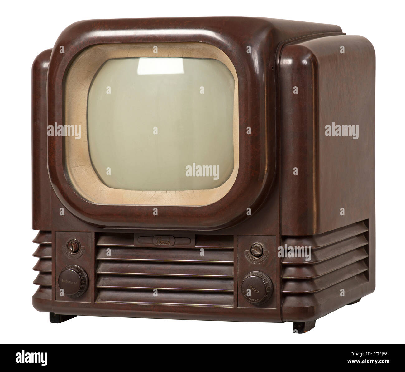 broadcast, television, television set, Bush TV 12, tabletop television set, bakelite, system for 405 lines, British - Stock Image