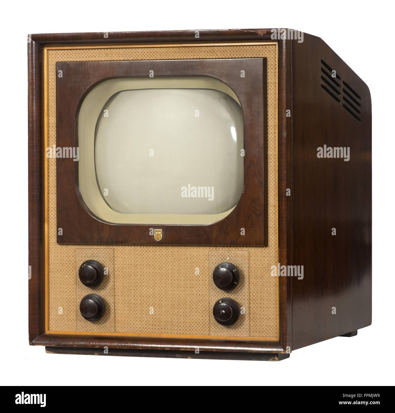 broadcast, television, television set Philips TX 500, early Dutch postwar device, chassis: wood, Netherlands, 1951, - Stock Image