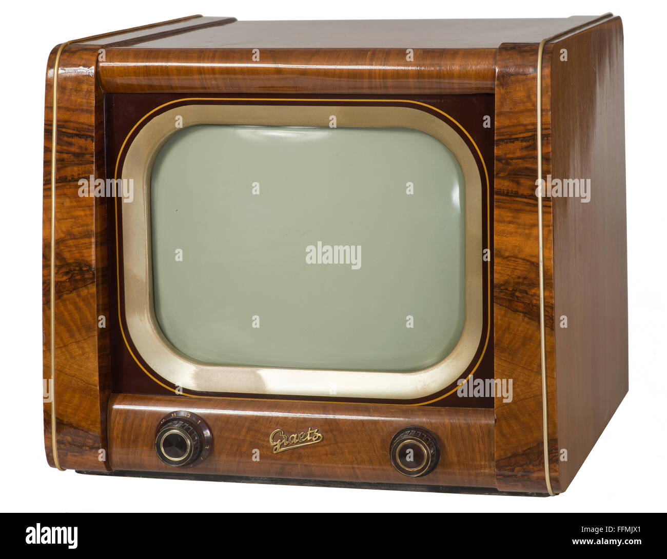 broadcast, television, Graetz tabletop television set F 6, 36 centimeter screen size, exotic wooden chassis, Germany, - Stock Image