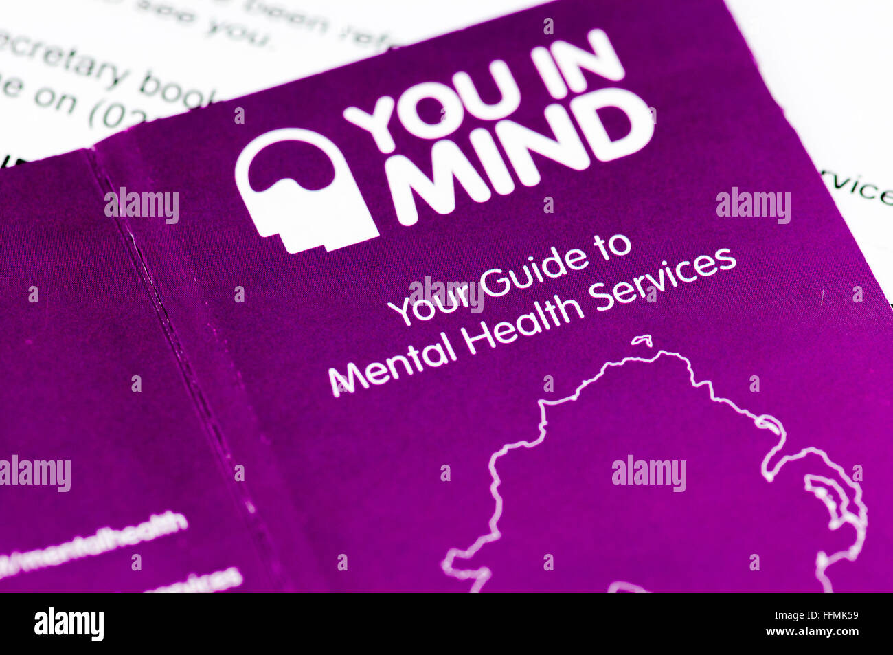 Self-help booklet issued by the Northern Ireland NHS for mental health services. - Stock Image