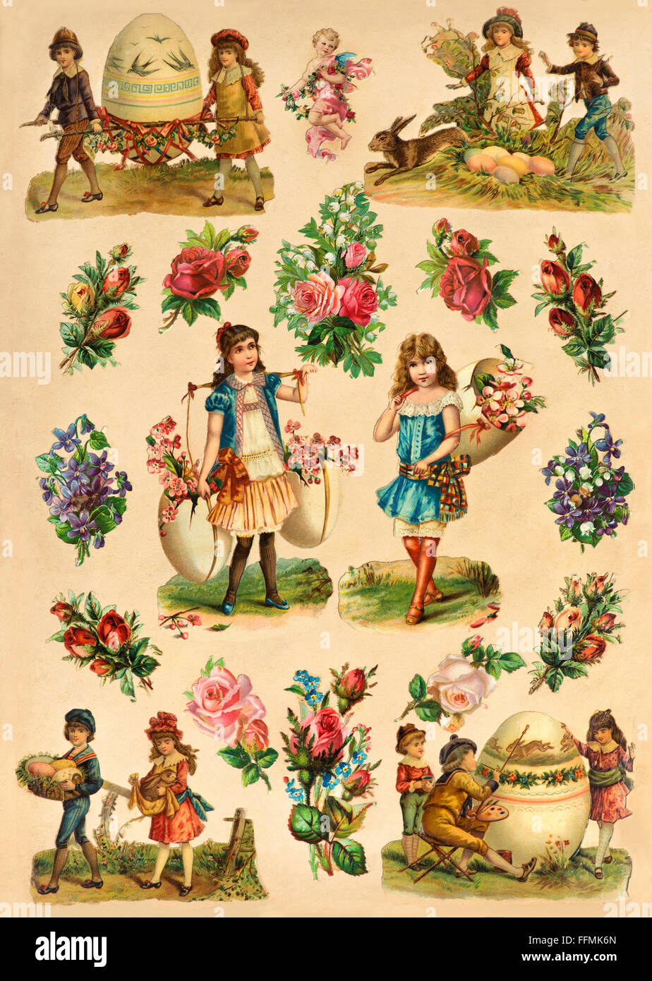 festivities, Easter, album of verses, single page, Easter motifs, Germany, circa 1893, Additional-Rights-Clearences - Stock Image
