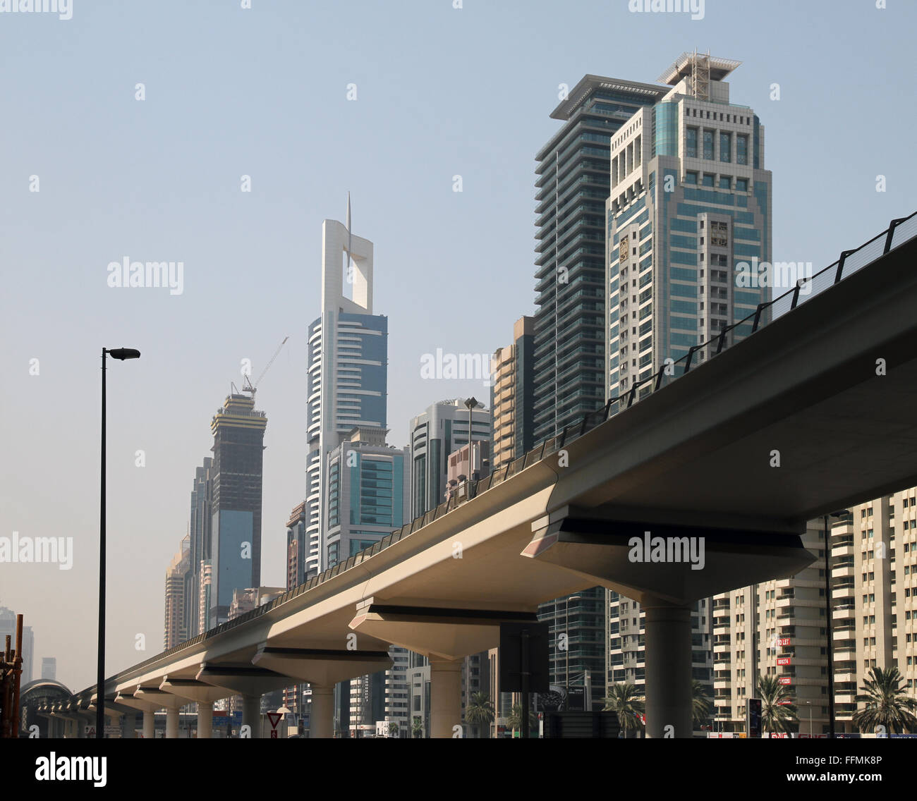 A view of Dubai, its Buildings and Metro - Stock Image