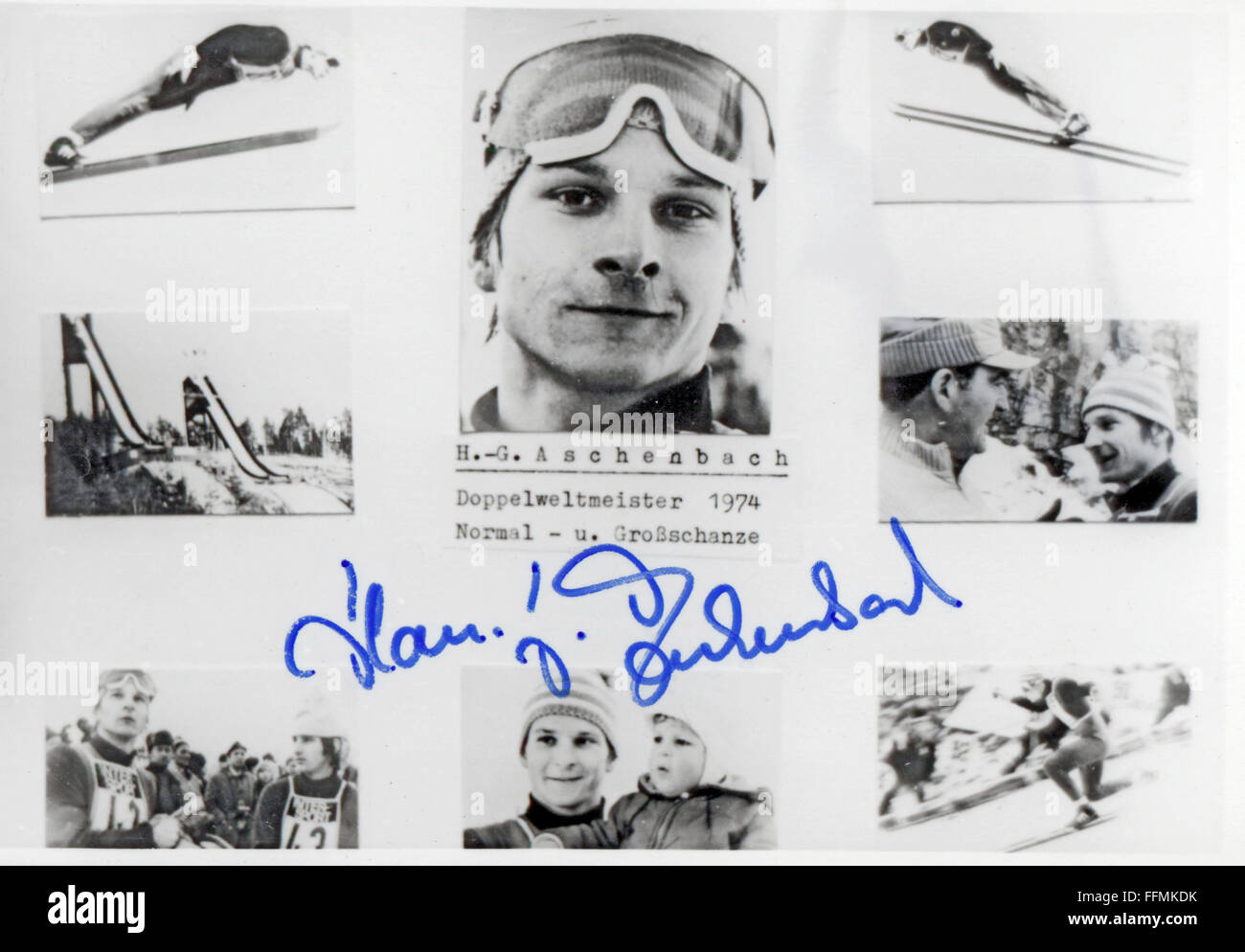 Aschenbach, Hans-Georg, * 25.10.1951, German athlete (ski jumper), trading card, 1970s, Additional-Rights-Clearances - Stock Image