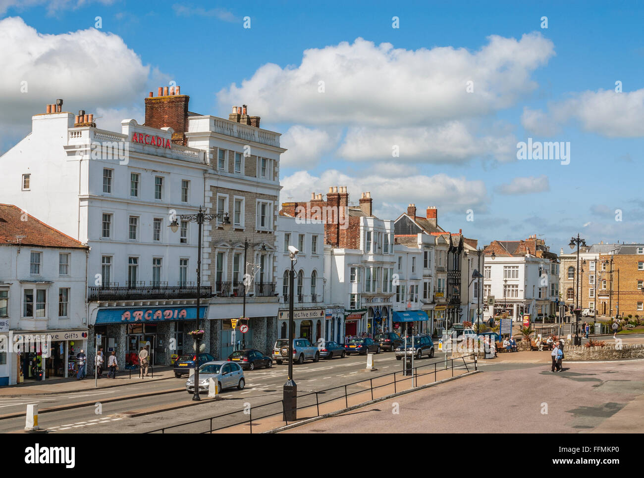 Harbour street of Ryde on the Isle of Wight, South England. | Die Hafenstrasse von Ryde auf der Isle of Wight, England. - Stock Image