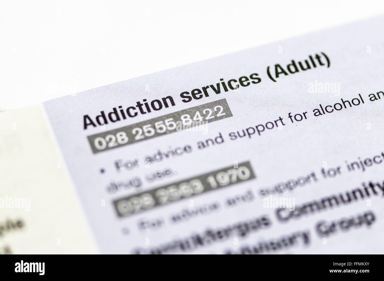 Directory of Adult addiction services and other Mental Health Services - Stock Image