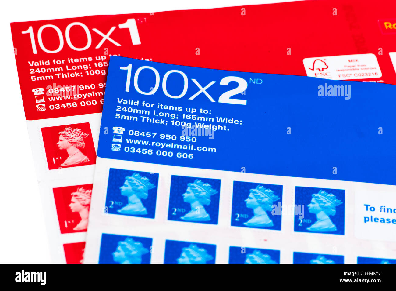 Sheets of 100 UK 1st and 2nd class stamps. - Stock Image