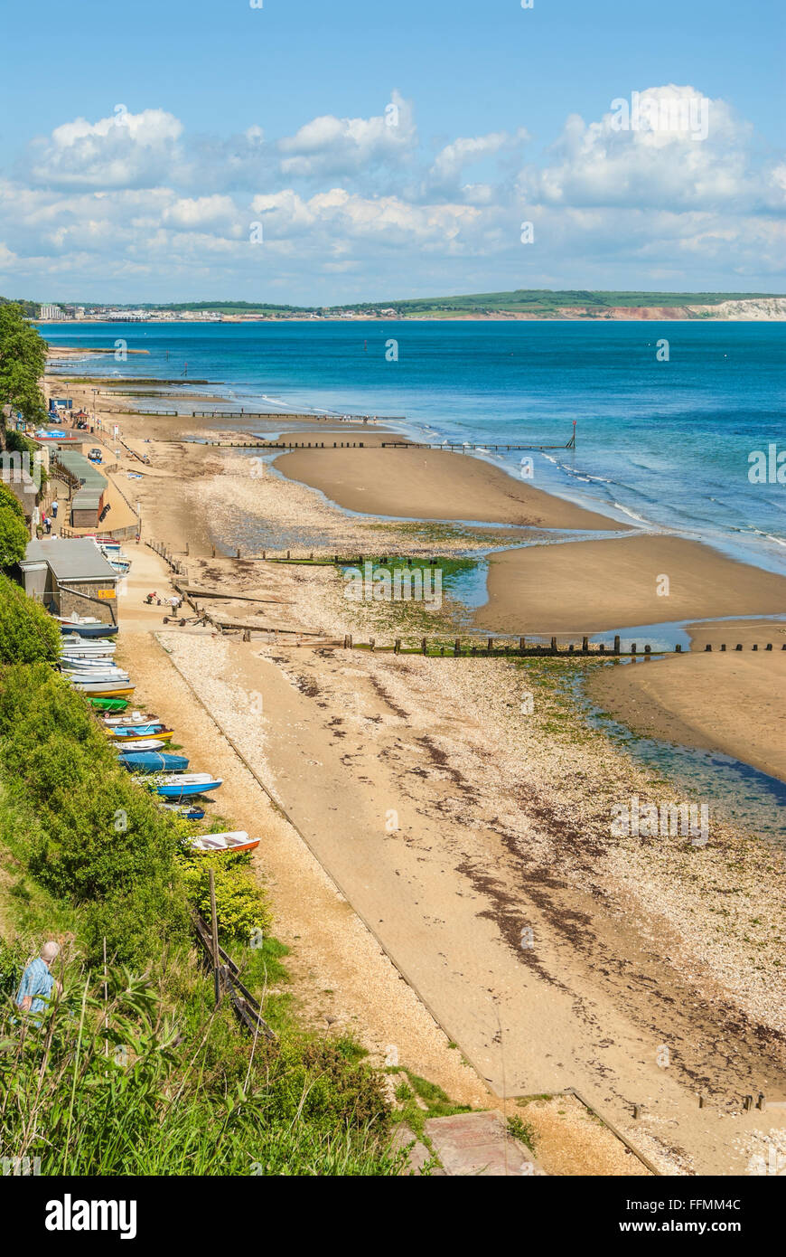 View over the coastline of Shanklin at the Isle of Wight in South England. | Strand von Shanklin, Insel Isle of Stock Photo