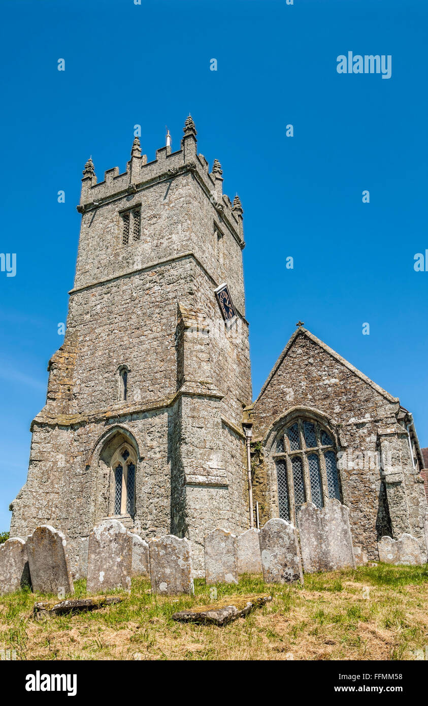 All Saints Church at the Godshill village, Isle of Wight, England. - Stock Image