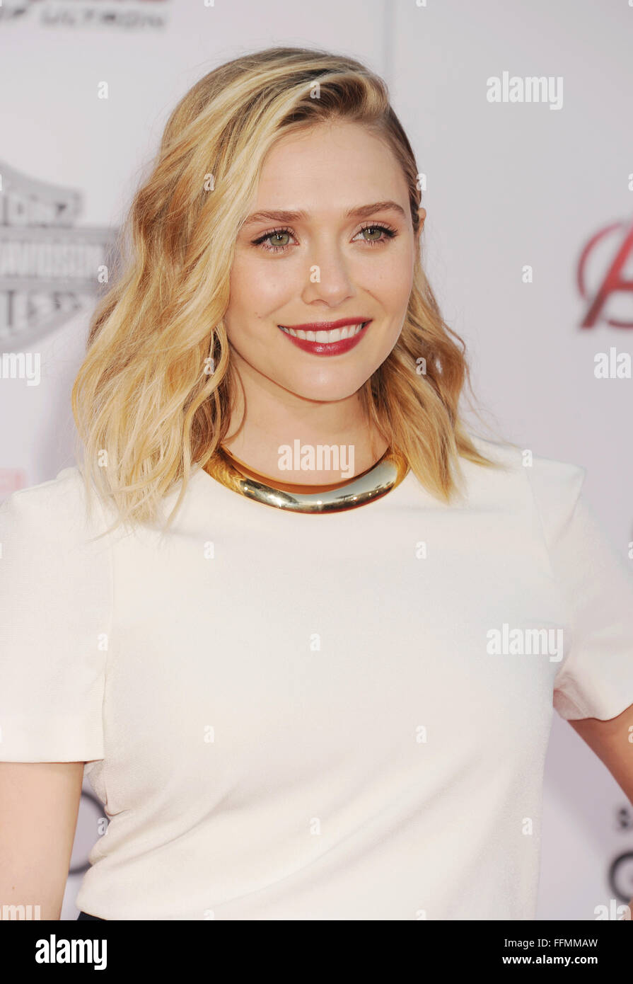 "Actress Elizabeth Olsen arrives at the Marvel's ""Avengers: Age Of Ultron"" - Los Angeles Premiere at Dolby Theatre Stock Photo"