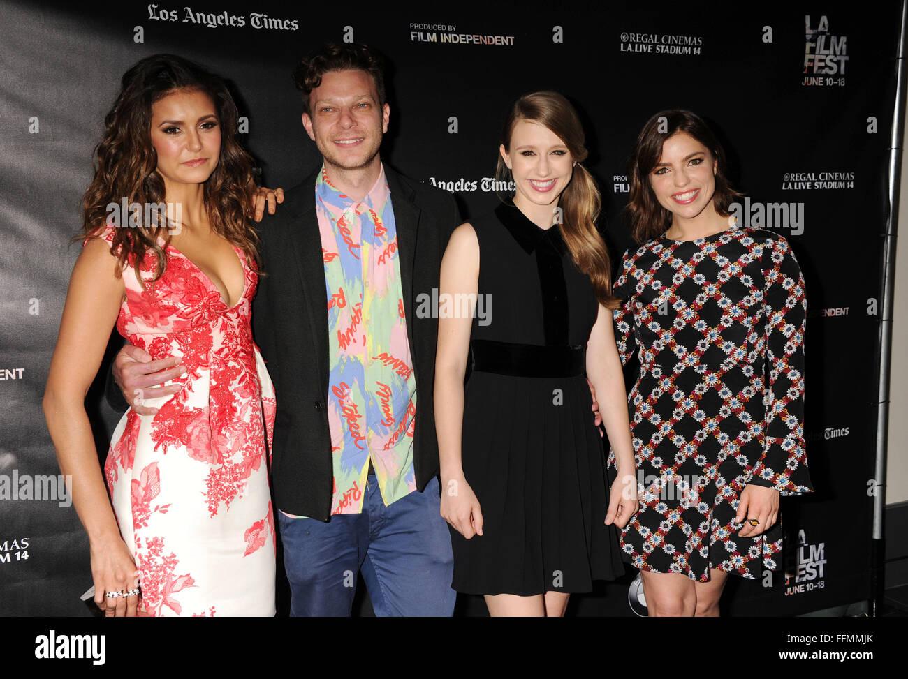 Actress Nina Dobrev, director Todd Strauss-Schulson, and actresses Taissa Farmiga and Angela Trimbur attend 'The - Stock Image