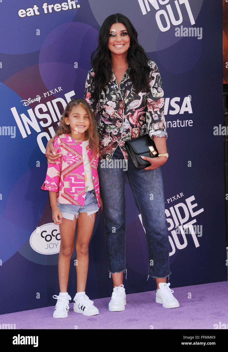 Fashion designer Rachel Roy (R) and daughter Tallulah Ruth Dash arrive at the Los Angeles premiere of Disney/Pixar's - Stock Image