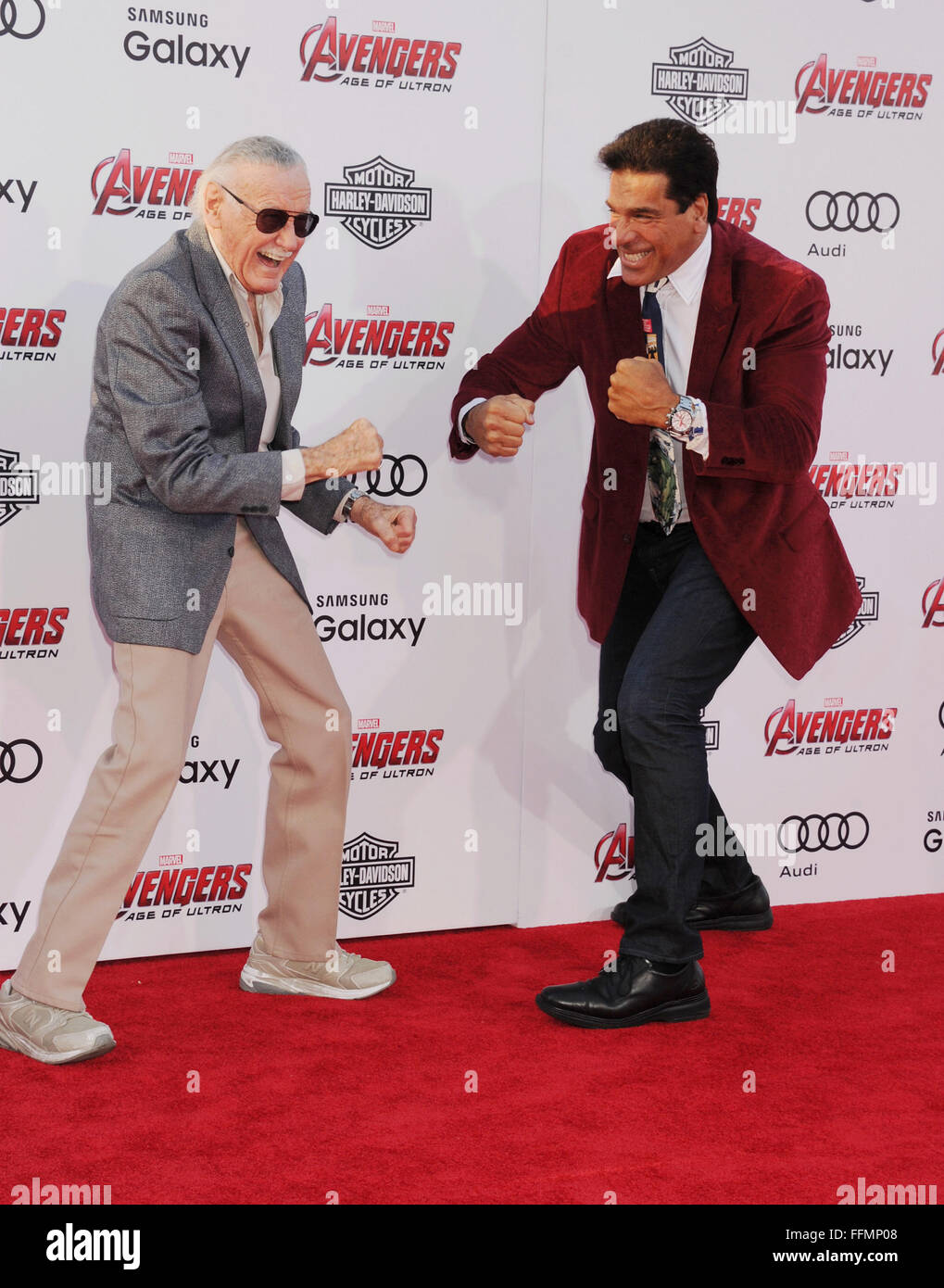 Executive producer/creator Stan Lee (L) and actor Lou Ferrigno arrive at the Marvel's 'Avengers: Age Of - Stock Image