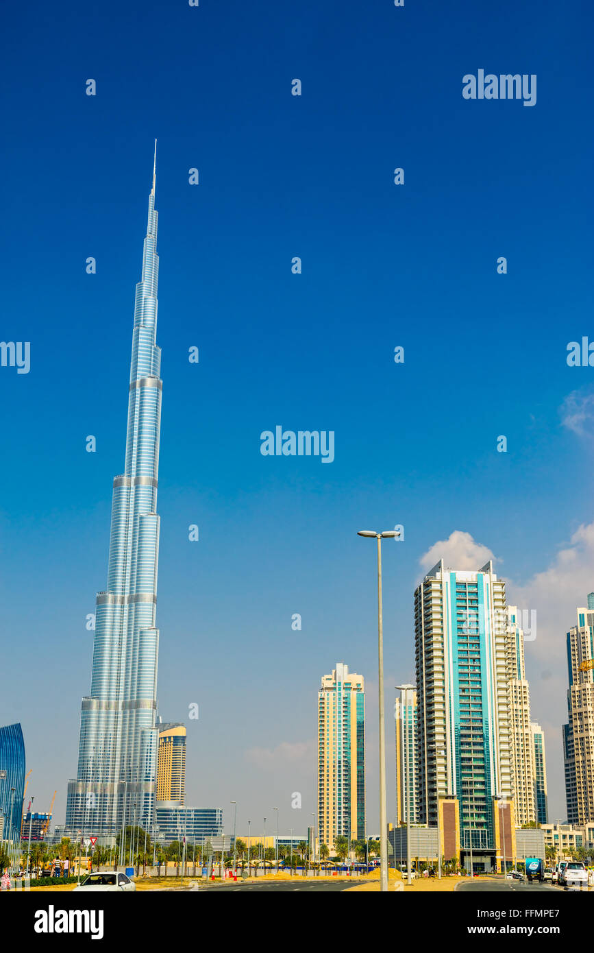DUBAI, UAE - FEBRUARY 10: Burj Khalifa facade on February 10, 2014 in Dubai, UAE. Burj Khalifa is a tallest building - Stock Image