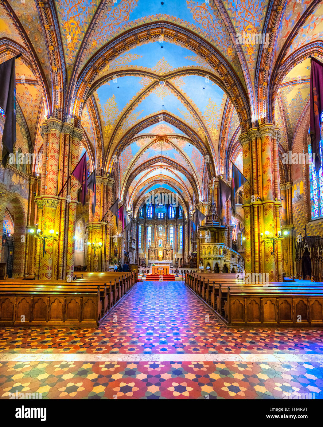 Budapest, Interior view of Mathias Cathedral, Hungary - Stock Image