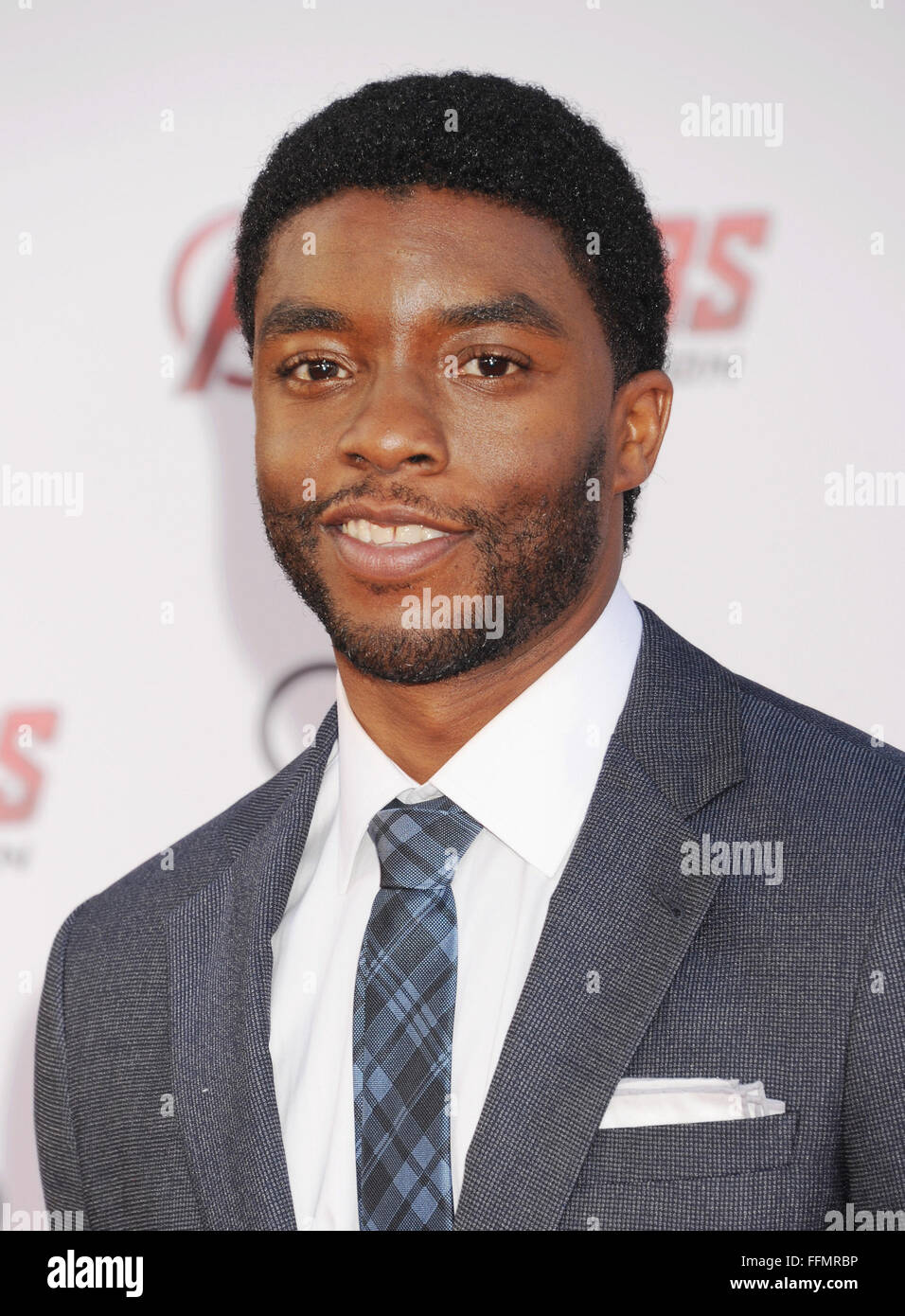 Actor Chadwick Boseman arrives at the Marvel's 'Avengers: Age Of Ultron' - Los Angeles Premiere at Dolby - Stock Image