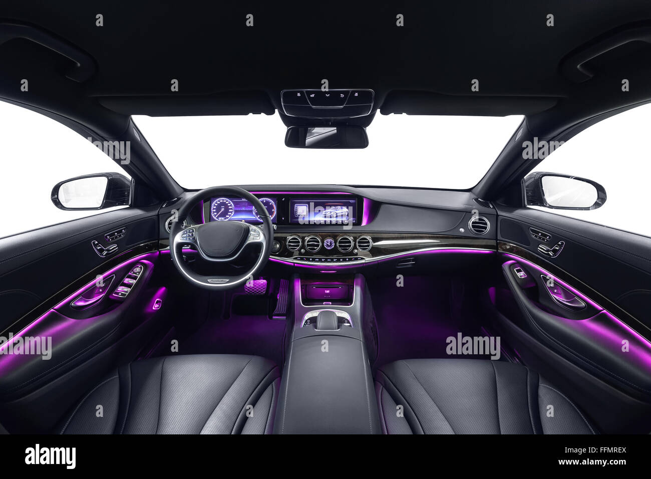 Car Interior Luxury Black Seats With Violet Ambient Light. Comfortable  Modern Salon. Cleaning And Detailing Car Service.