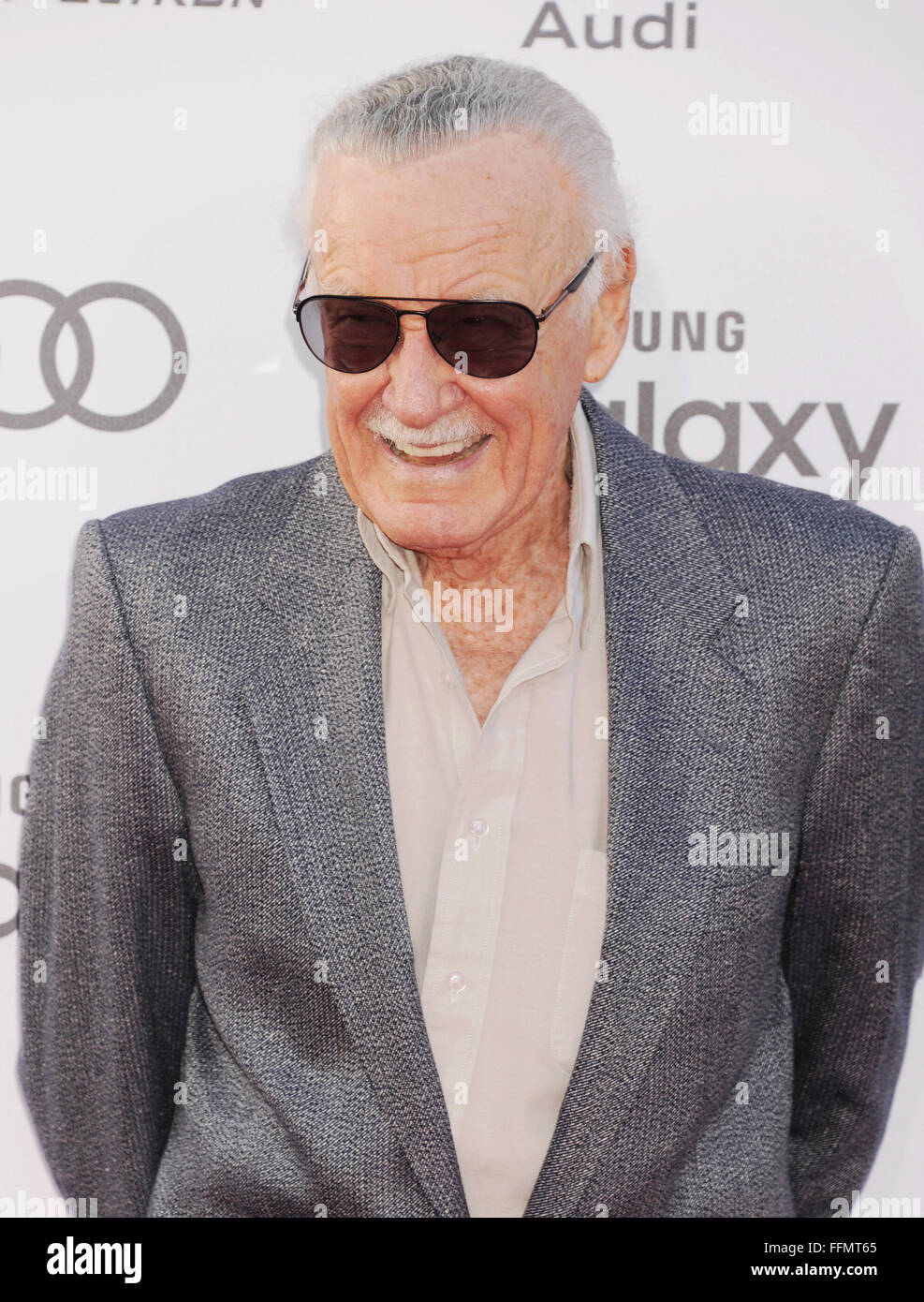 Executive producer/creator Stan Lee arrives at the Marvel's 'Avengers: Age Of Ultron' - Los Angeles - Stock Image