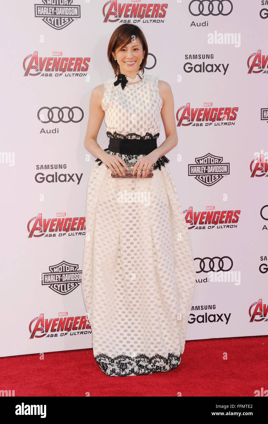 Actress Ryoko Yonekura arrives at the Marvel's 'Avengers: Age Of Ultron' - Los Angeles Premiere at Dolby - Stock Image