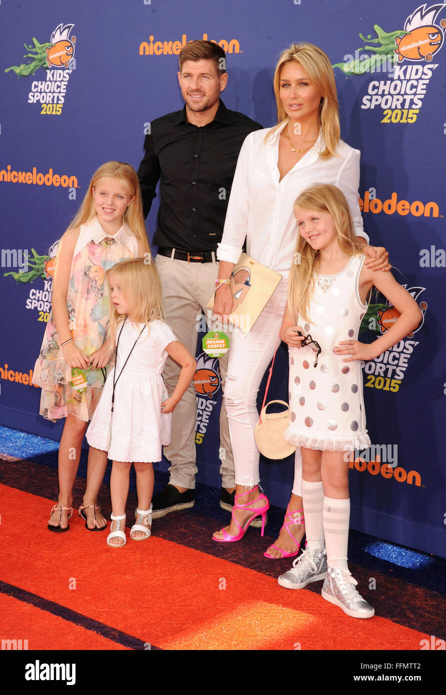 Soccer player Steven Gerrard, wife Alex Gerrard and daughters Lilly-Ella Gerrard, Lexie Gerrard, Lourdes Gerrard Stock Photo