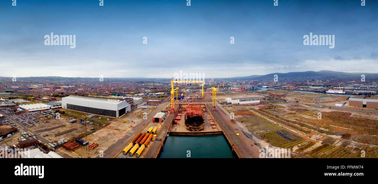 Harland & Wolff shipyard Belfast Northern Ireland Napoli container ship is taken apart - Stock Image