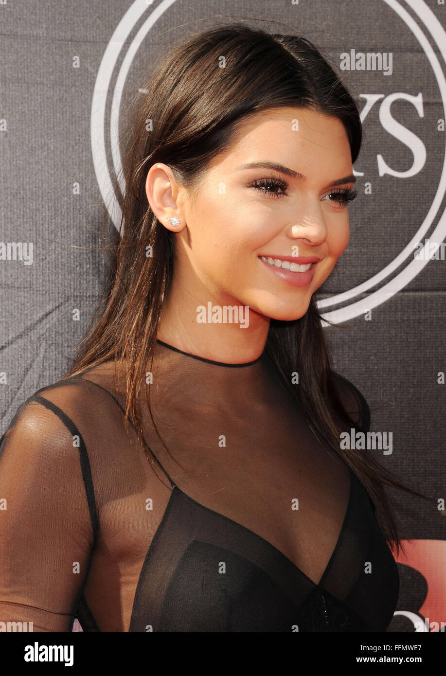 TV personality Kendall Jenner arrives at the The 2015 ESPYS at Microsoft Theater on July 15, 2015 in Los Angeles, - Stock Image