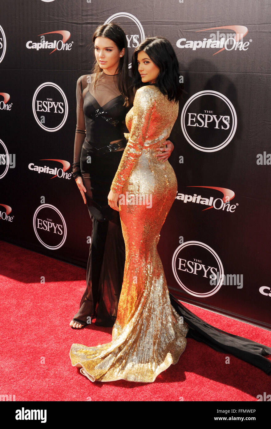 TV personalities Kendall Jenner (L) and Kylie Jenner arrive at the The 2015 ESPYS at Microsoft Theater on July 15, - Stock Image