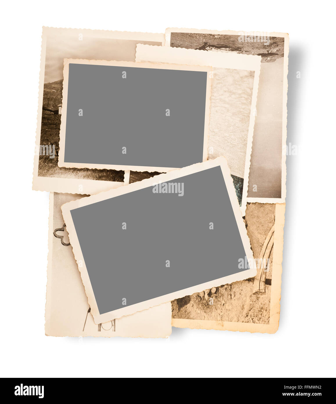 old letter with old pictures - Stock Image