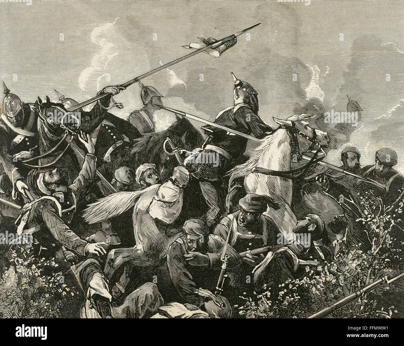 Third Carlist War (1872-1876). Fight between Carlist and liberal troops. Engraving. - Stock Image