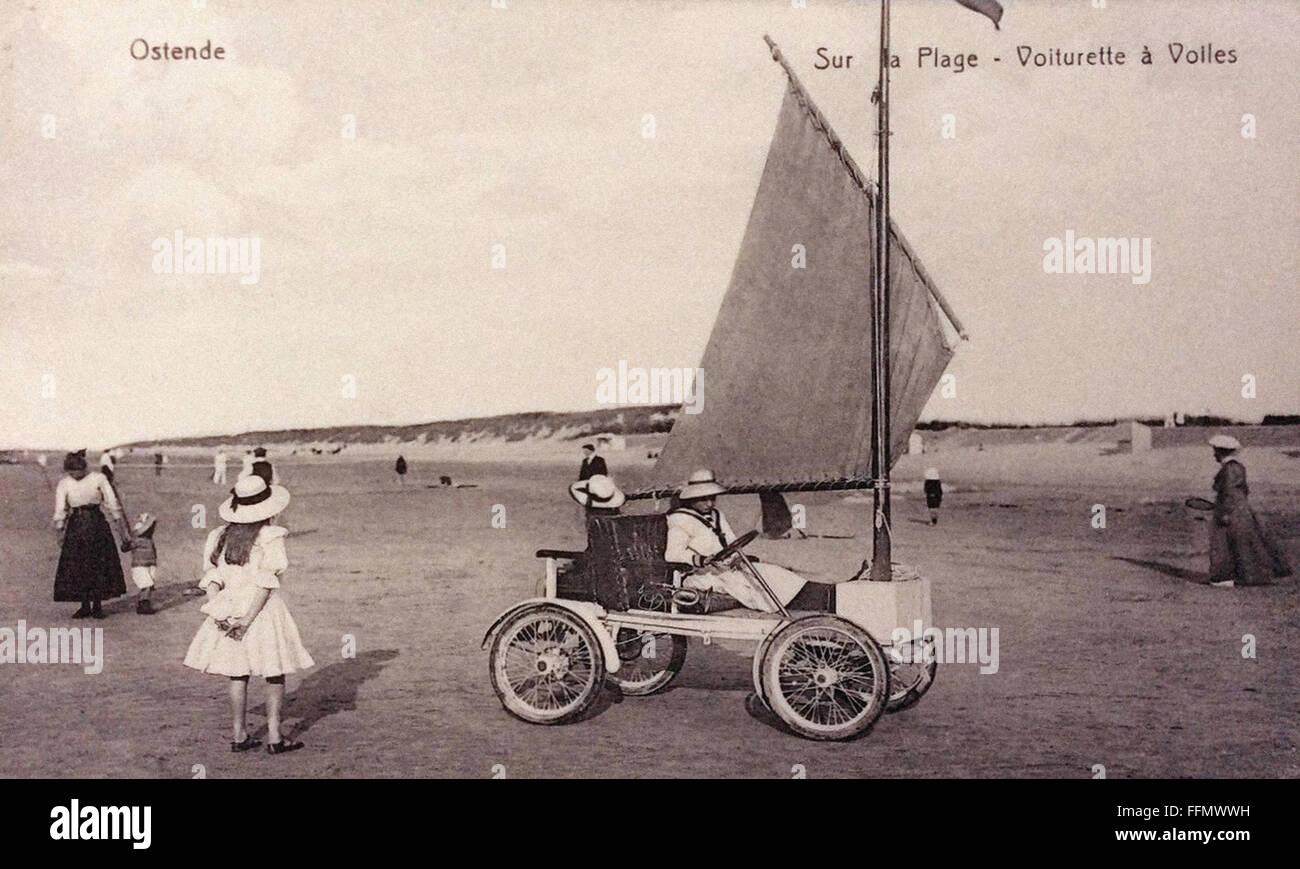 Ostende Sur La Plage Vintage Postcard 1900 Stock Photo Alamy