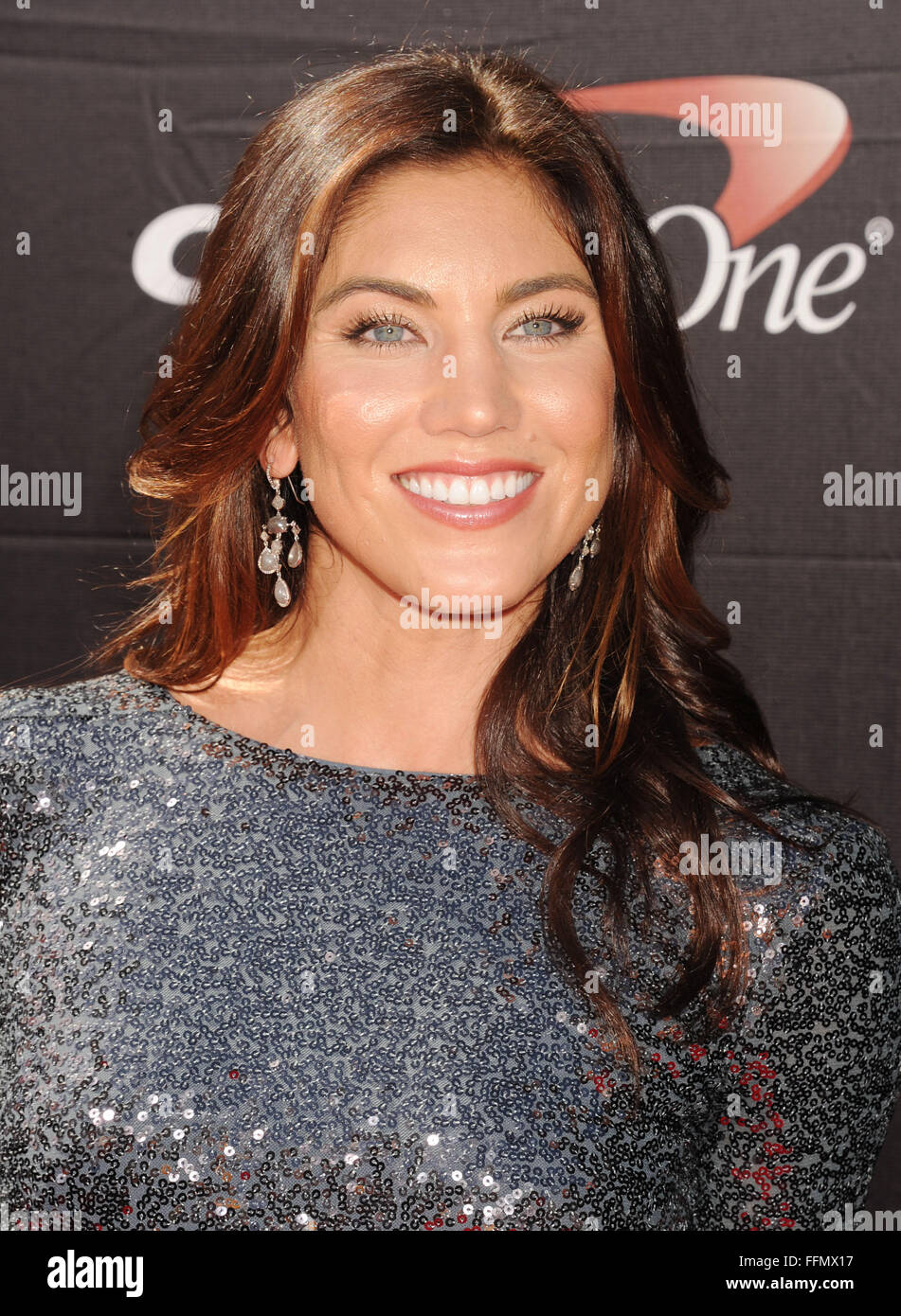 USA women's soccer player Hope Solo arrives at the The 2015 ESPYS at Microsoft Theater on July 15, 2015 in Los - Stock Image
