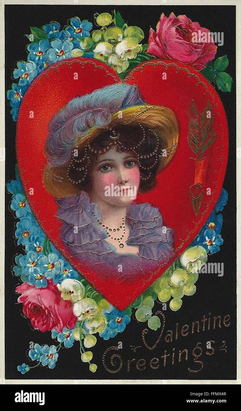 Valentine Greetings - Belle Époque  - Vintage postcard - 1900 - Stock Image