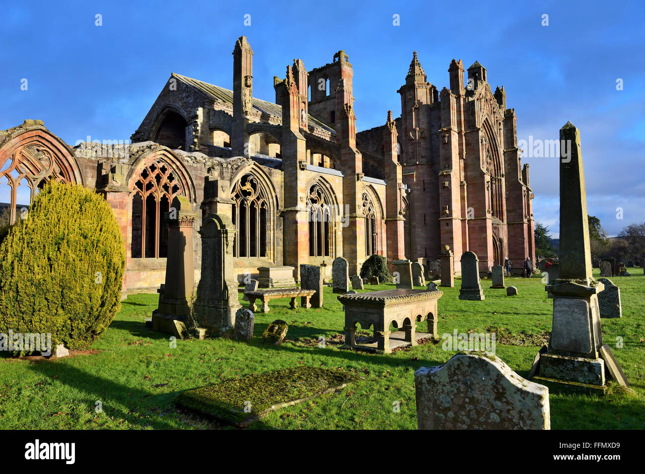 Ruins of Melrose Abbey, Scottish Borders, UK - Stock Image
