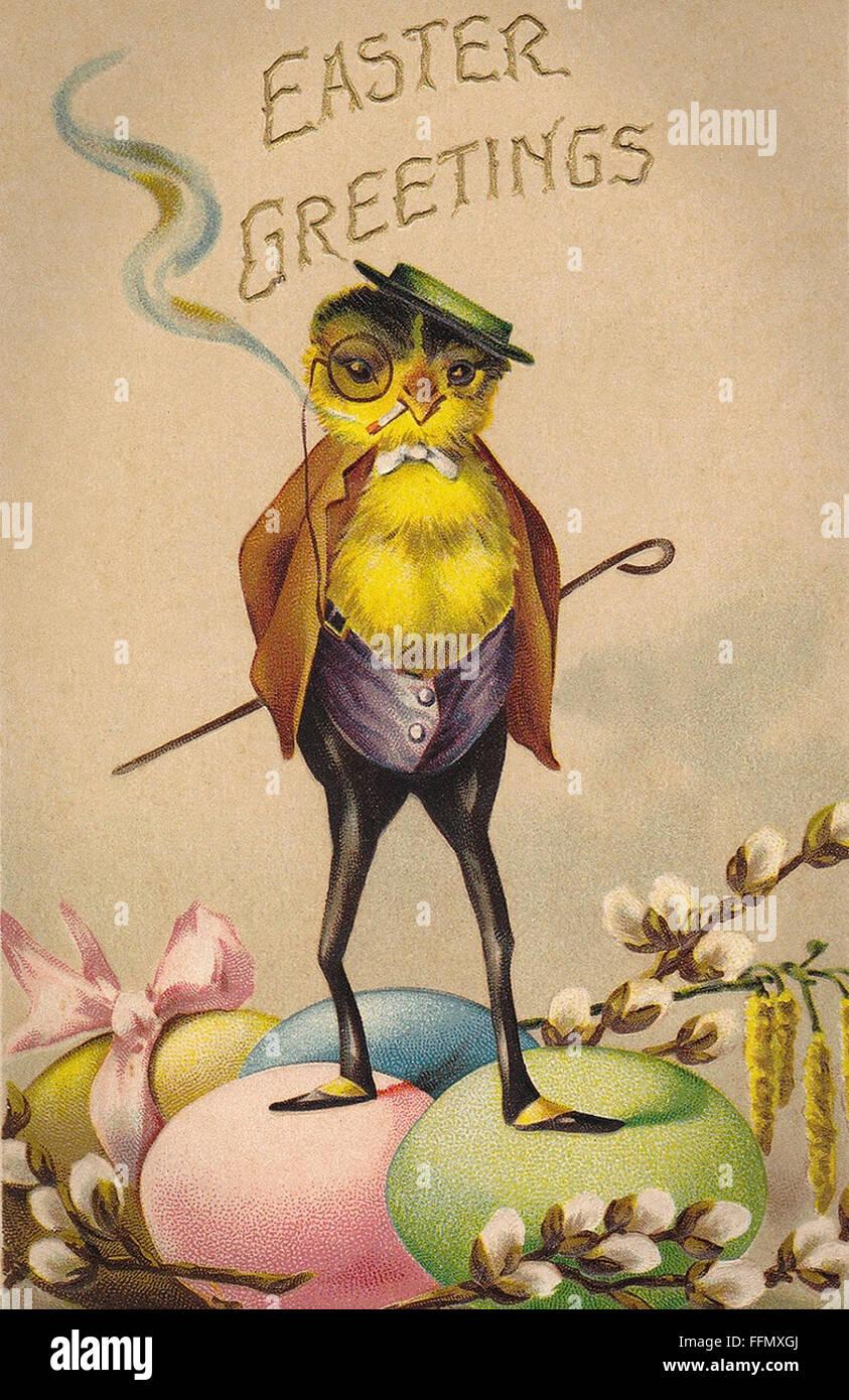 Easter Greetings - Vintage postcard - 1900 - Stock Image