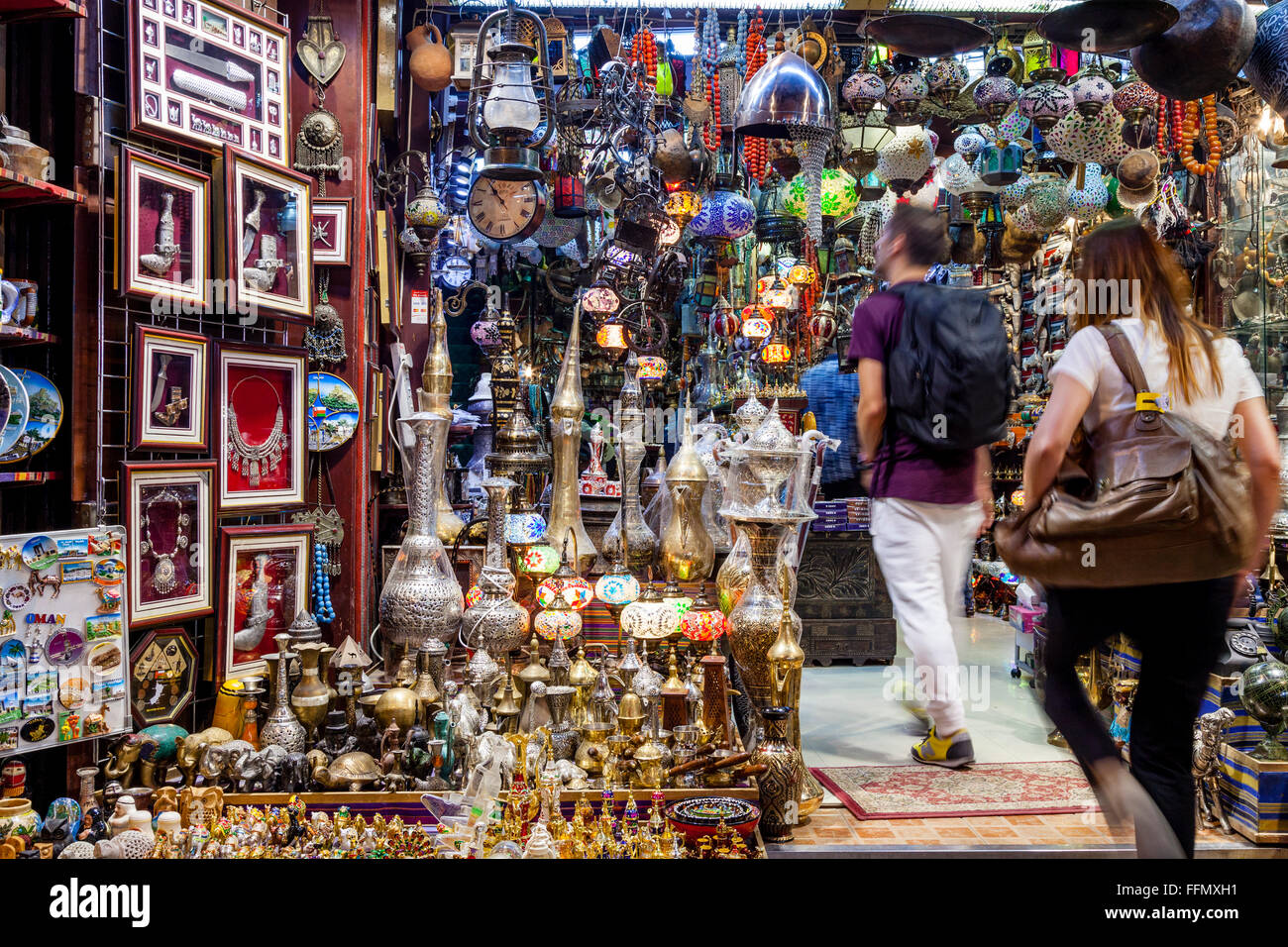 Tourists Shopping In The Muttrah Souk (Al Dhalam), Muttrah, Muscat, Sultanate Of Oman - Stock Image