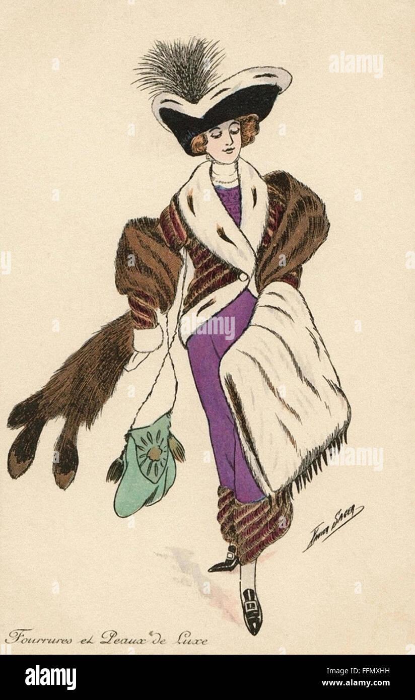 Fourrures et Peaux de Luxe - Fur - Belle Époque  - Vintage postcard - 1900 - Stock Image