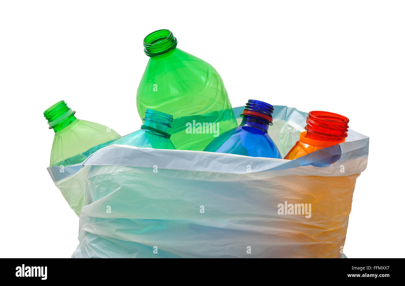 garbage bag with plastic bottles isolated on white - Stock Image