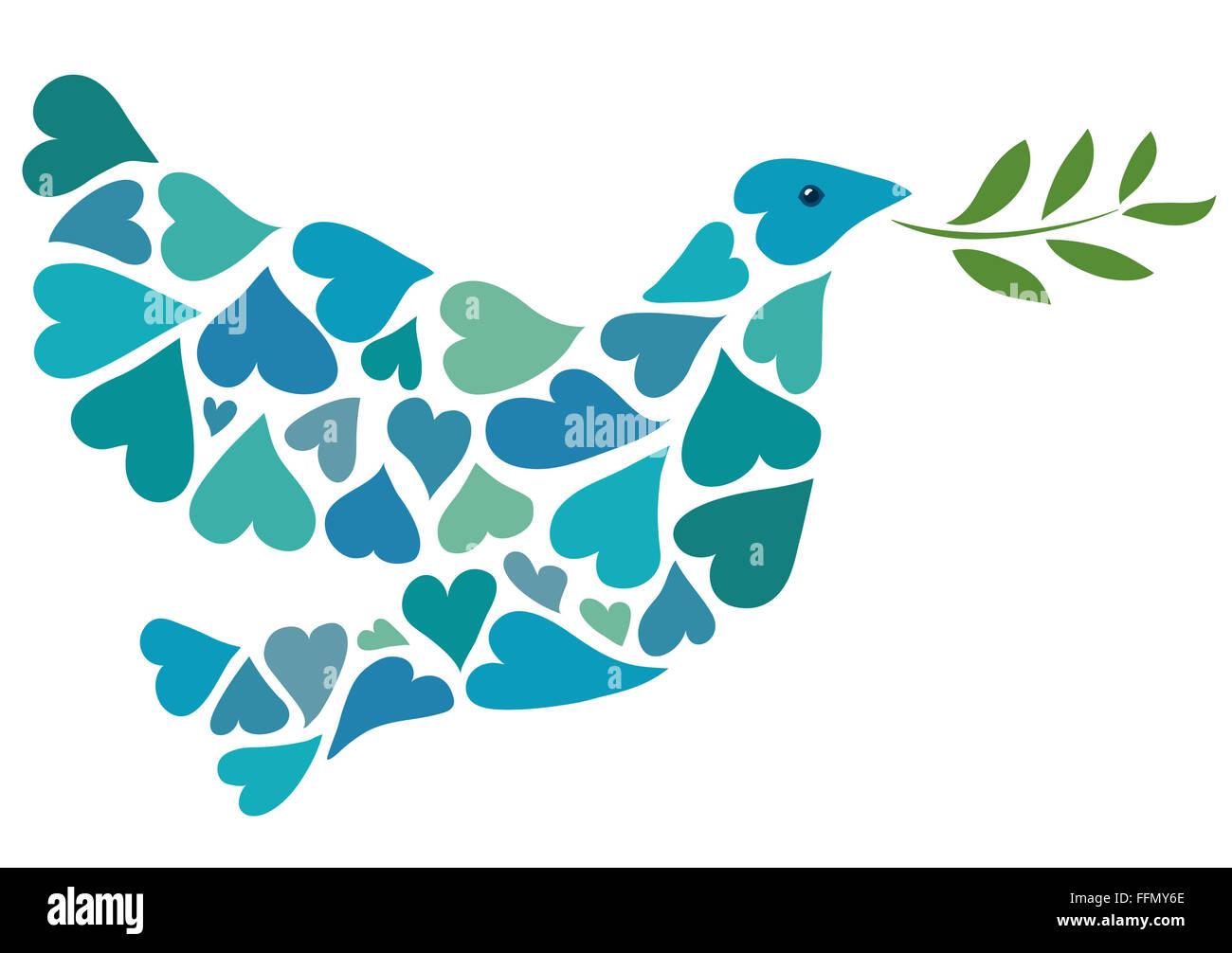Peace dove of hearts - Stock Image