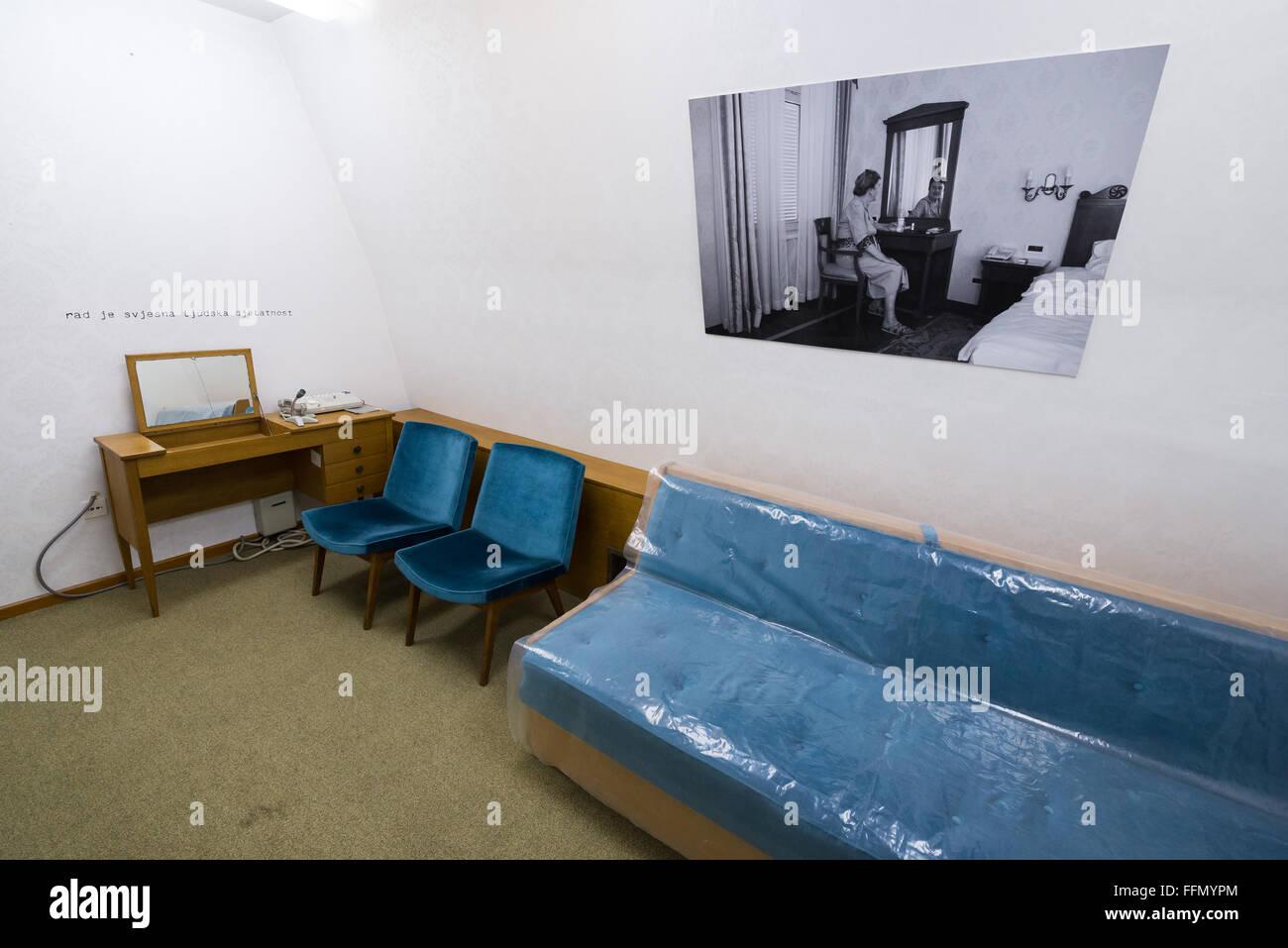 Room of First Lady of Yugoslavia Jovanka Broz in Josip Tito bunker, leader of former Yugoslavia, Konjic, Bosnia Stock Photo
