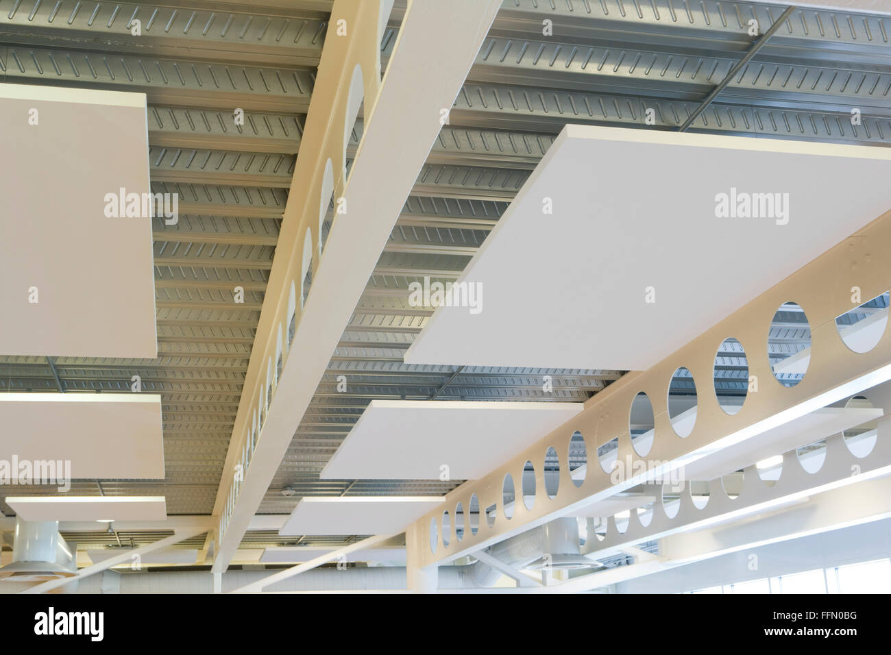 Brighton and Hove College, Brighton, England restaurant acoustic panels - Stock Image