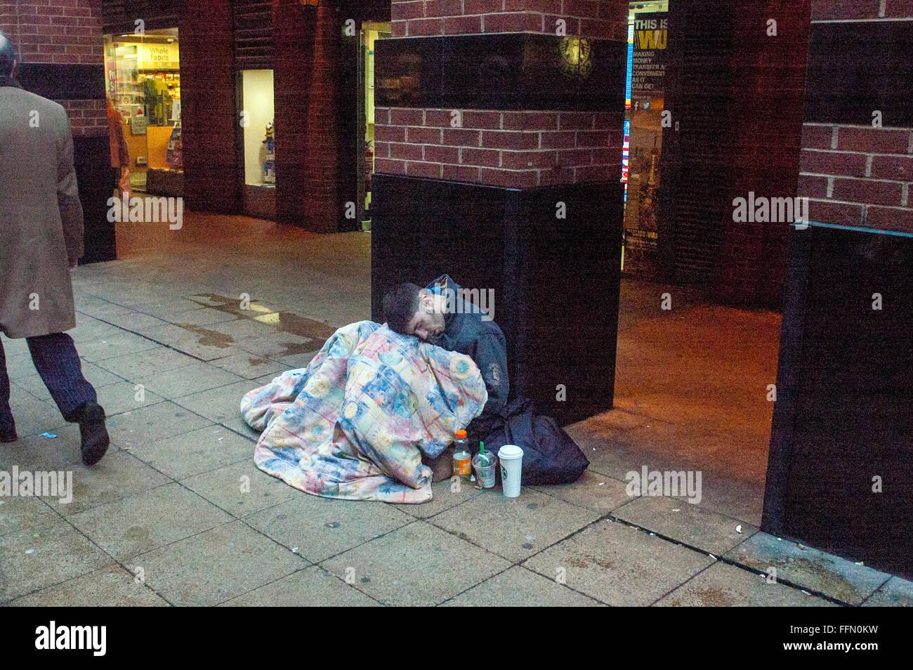 London,UK,16 February 2016,Street sleepers West End London.People sleeping homeless streets London is on increase. - Stock Image