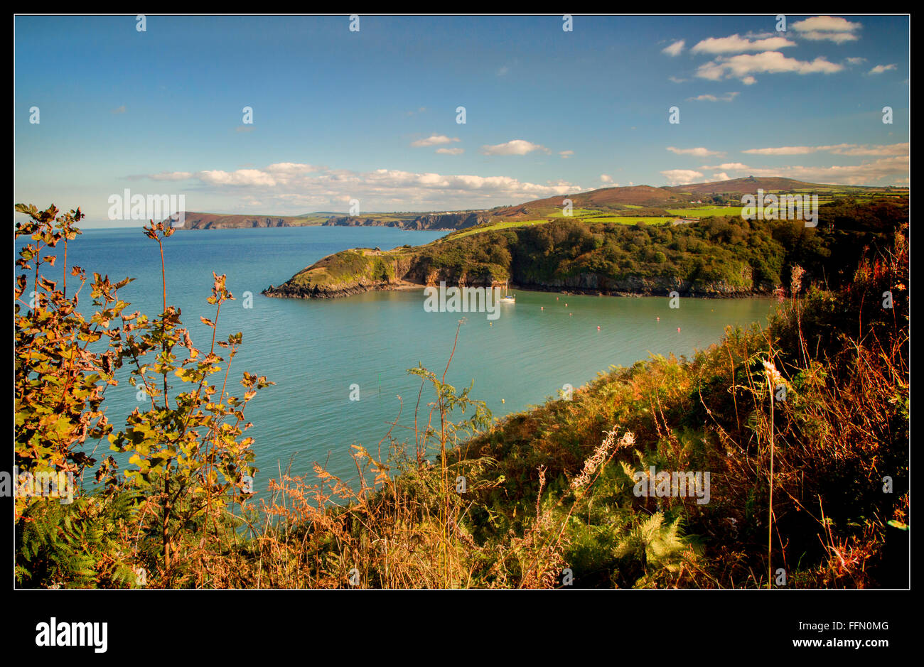 Entrance to Fishguard Harbour, Pembrokeshire - Stock Image