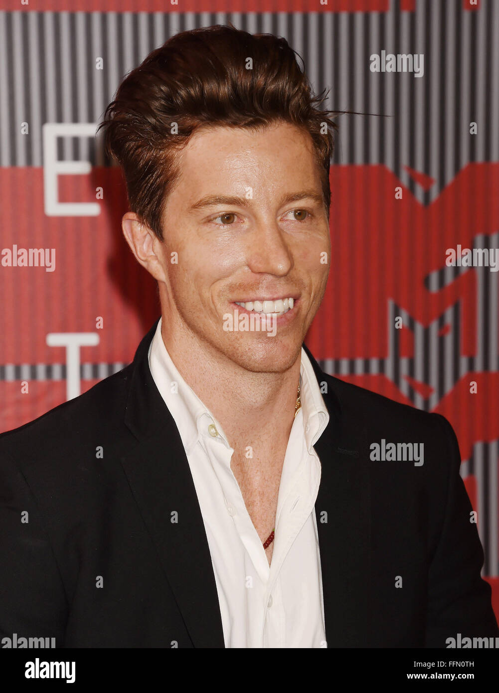 Professional snowboarder Shaun White arrives at the 2015 MTV Video Music Awards at Microsoft Theater on August 30, - Stock Image
