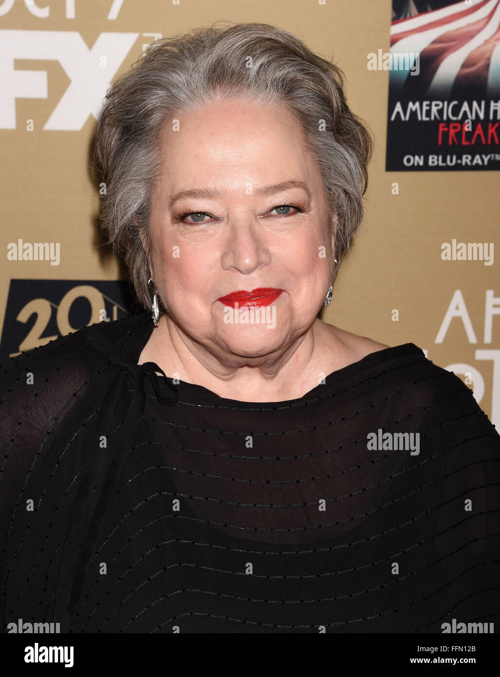 Actress Kathy Bates arrives at the premiere screening of FX's 'American Horror Story: Hotel' at Regal - Stock Image
