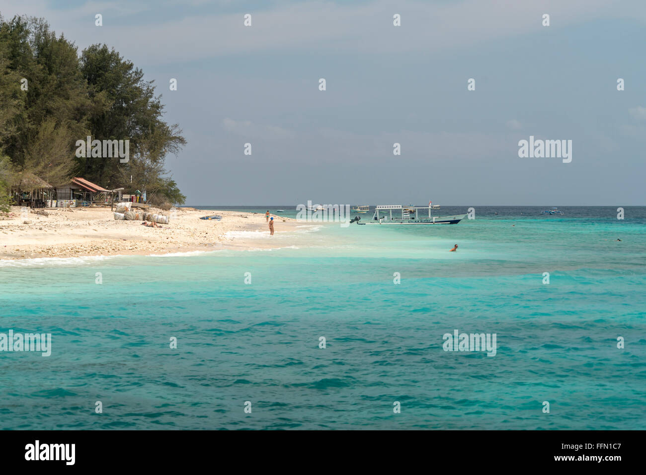 beach on the small island Gili Meno, Lombok, Indonesia, Asia - Stock Image