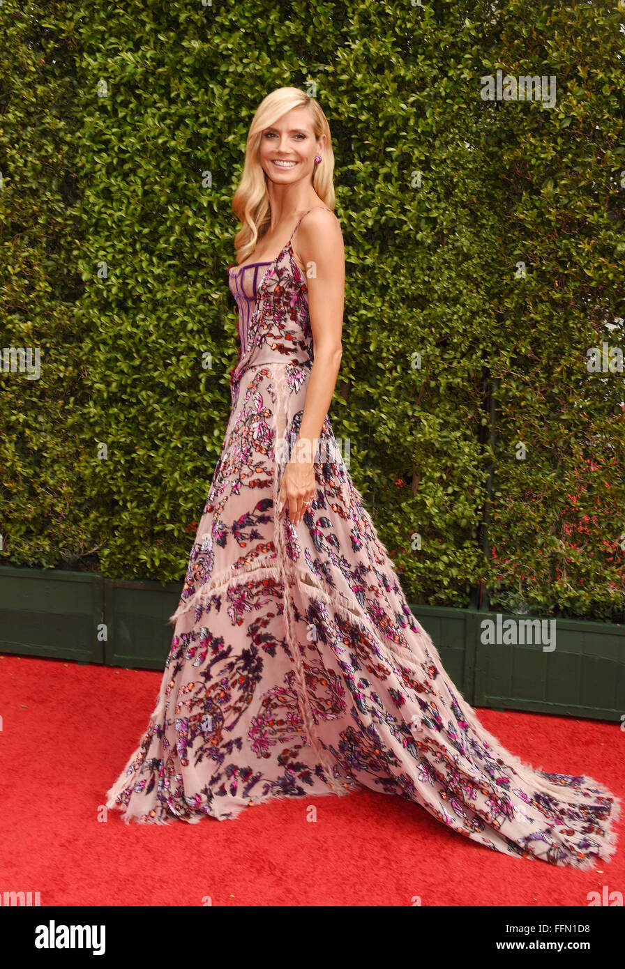 TV personality/model Heidi Klum attends the 2015 Creative Arts Emmy Awards at Microsoft Theater on September 12, - Stock Image