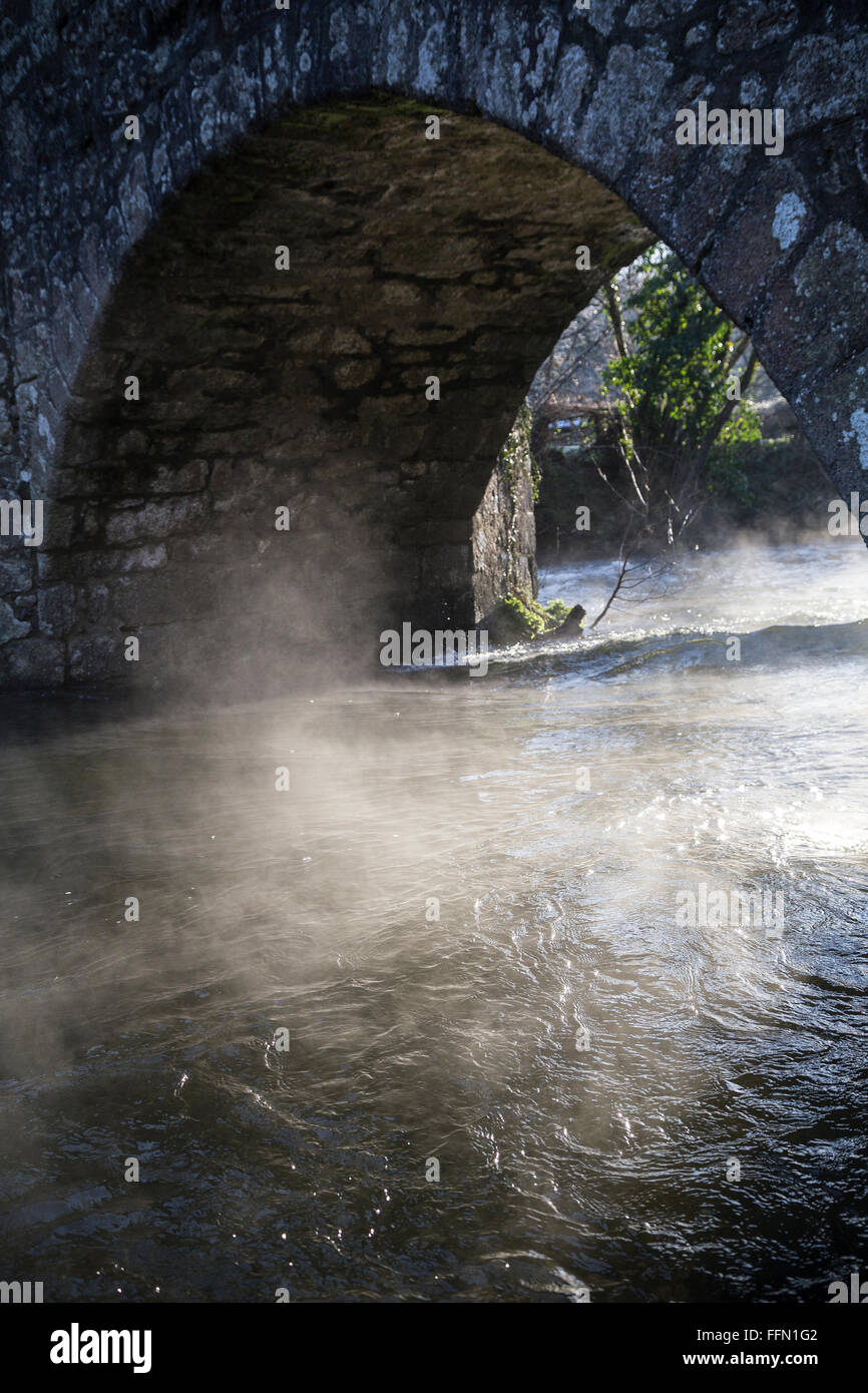 mist rising from river Teign at Ashton,Devon.mist rising from river Teign at Ashton,Devon.arsenic pits in the teign - Stock Image