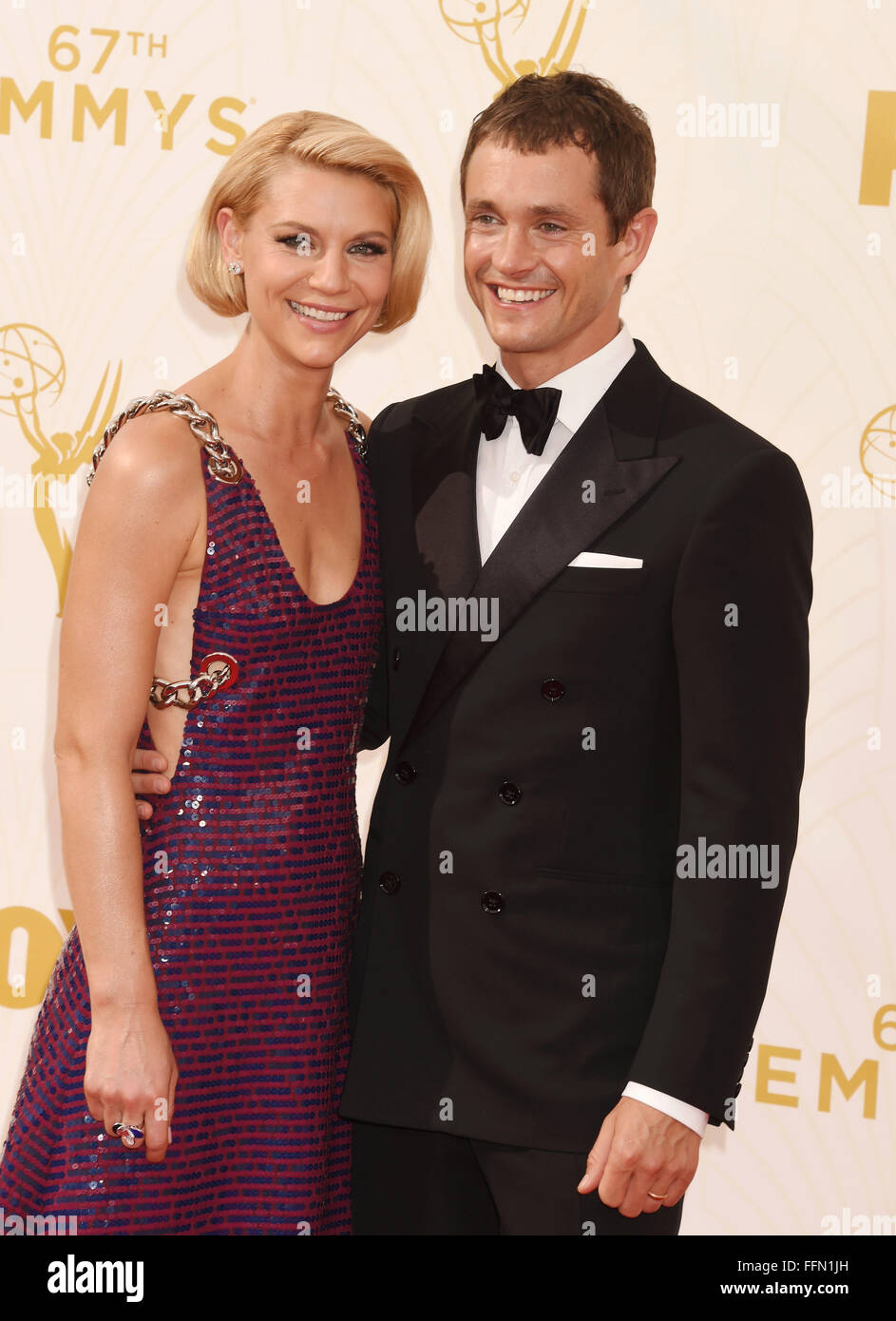 Actors Claire Danes (L) and Hugh Dancy attend the 67th Annual Primetime Emmy Awards at Microsoft Theater on September - Stock Image